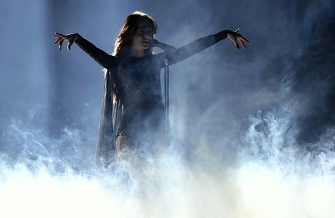 Iveta Mukuchyan of Armenia performs during the first dress rehearsal for the Eurovision Song Contest final in Stockholm, Sweden, Friday, May 13, 2016. (AP Photo/Martin Meissner)