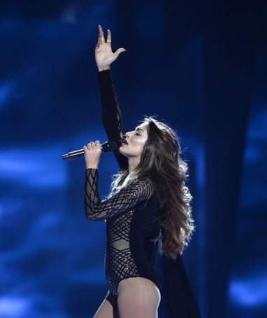 """WCENTER 0SQFBBKNJA STOCKHOLM 2016-05-10 Armenia's Iveta Mukuchyan performs with the song """"LoveWave"""" during the Eurovision Song Contest 2016 semi-final 1 at the Ericsson Globe Arena in Stockholm, Sweden, May 10, 2016. Photo: Maja Suslin / TT / Kod 10300 ** SWEDEN OUT ** LaPresse Only italy Eurovision 2016 - Semifinale"""