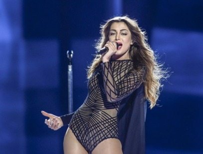 "WCENTER 0SQFBBKNIK STOCKHOLM 2016-05-10 Armenia's Iveta Mukuchyan performs with the song ""LoveWave"" during the Eurovision Song Contest 2016 semi-final 1 at the Ericsson Globe Arena in Stockholm, Sweden, May 10, 2016. Photo: Maja Suslin / TT / Kod 10300 ** SWEDEN OUT ** LaPresse Only italy Eurovision 2016 - Semifinale"