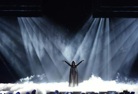 """WCENTER 0SQFBBKNID STOCKHOLM 2016-05-10 Armenia's Iveta Mukuchyan performs with the song """"LoveWave"""" during the Eurovision Song Contest 2016 semi-final 1 at the Ericsson Globe Arena in Stockholm, Sweden, May 10, 2016. Photo: Maja Suslin / TT / Kod 10300 ** SWEDEN OUT ** LaPresse Only italy Eurovision 2016 - Semifinale"""