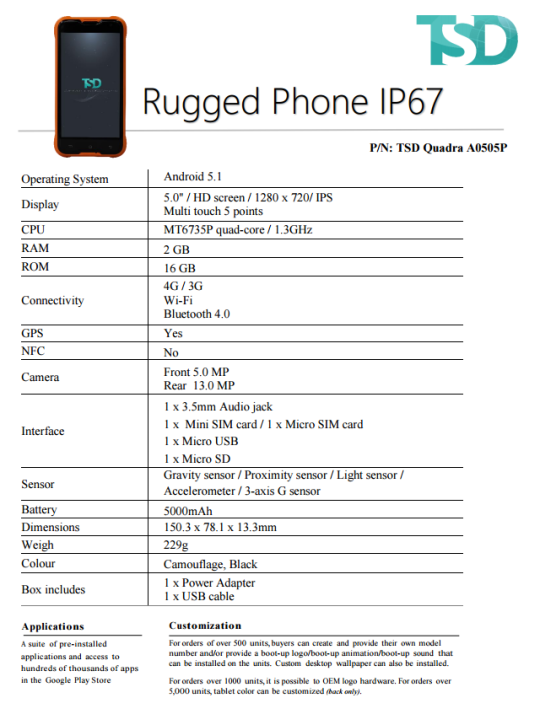 ArmPhone 0505 – AMD 110 000 (USD 230)