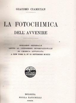 La Fotochimica dell'Avvenire – G. Ciamician
