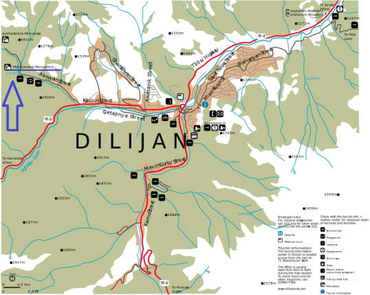Posizione di Matosavank rispetto a Dilijan