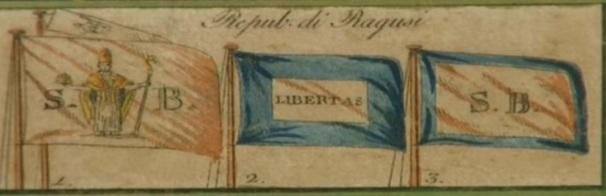 Le bandiere della Repubblica di Ragusa, una delle quali recante l'icona di San Biagio