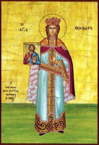 Teodora rappresentata come una Santa in un'icona greca del XIX secolo