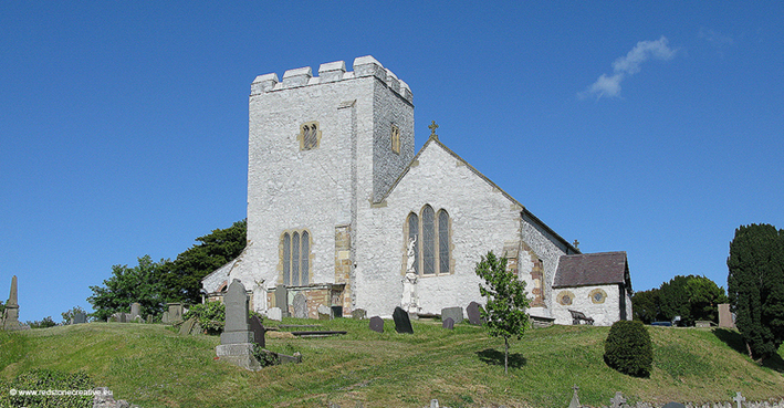 La chiesa di Santa Maria a Rhuddlan, in cui è custodita la lastra tombale dedicata a William Freney.
