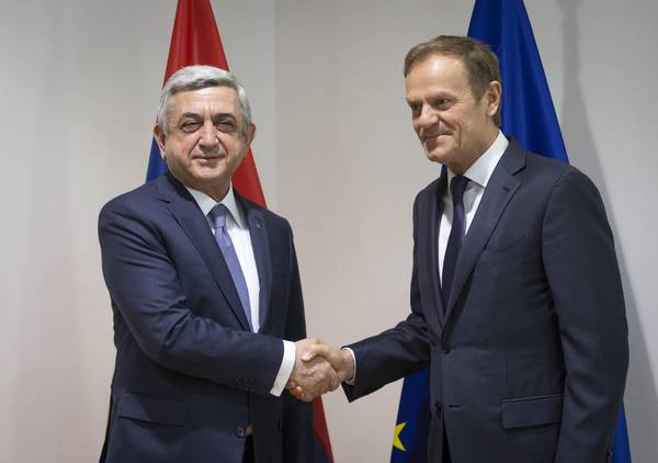 President of Armenia Serzh Sargsyan visitS EU council