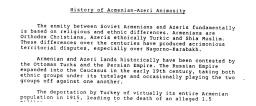 Documento CIA del 1988 sull'origine dell'inimicizia tra armeni ed azeri