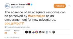Violazioni azere in Artsakh, il Ministero degli Affari Esteri ha diramato una dichiarazione ufficiale